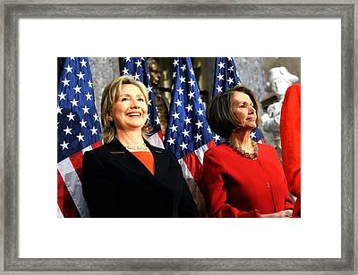 Hillary Clinton Stands With Speaker Framed Print by Everett