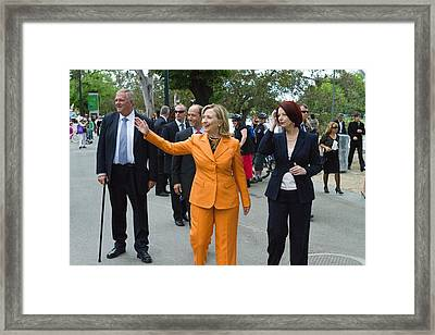 Hillary Clinton Waves To The Crowd Framed Print by Everett