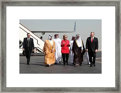 Hillary Clinton With Us And Qatari Framed Print