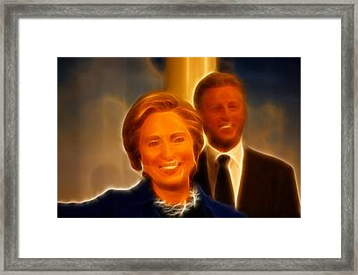 Hillary Rodham Clinton - United States Secretary Of State - Bill Clinton Framed Print