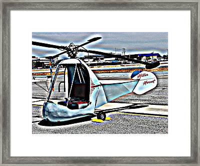 Hiller Hornet Helicopter Framed Print by Samuel Sheats