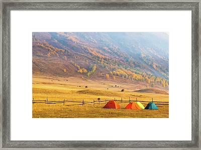 Hillside Camping In Hemu, Xinjiang China Framed Print by Feng Wei Photography