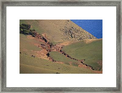Hillside Erosion Caused By Run Framed Print by Jason Edwards