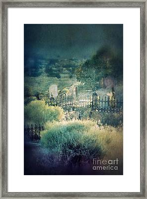 Hillside Graveyard Framed Print by Jill Battaglia