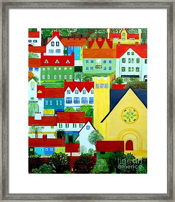 Hillside Village Framed Print by Barbara Moignard