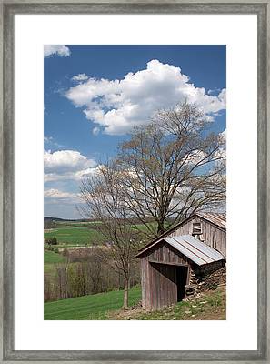 Hillside Weathered Barn Dramatic Spring Sky Framed Print by John Stephens