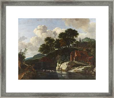 Hilly Landscape With A Watermill Framed Print by Jacob Isaaksz Ruisdael