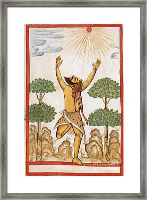 Hindu Ascetic Adoring Sun, India, 1600s Framed Print by Photo Researchers