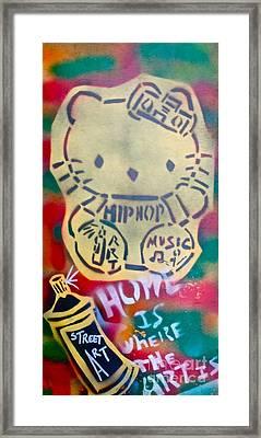 Hip Hop Kitty Framed Print by Tony B Conscious