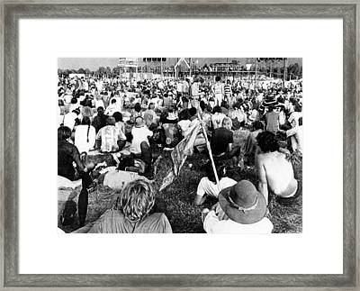 Hippie Youths At The Celebration Framed Print