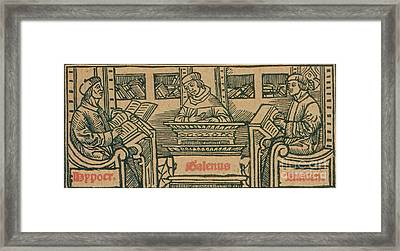 Hippocrates, Galen And Avicenna Framed Print by Science Source