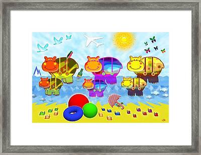 Hippopotam Framed Print by Victoria Regueira