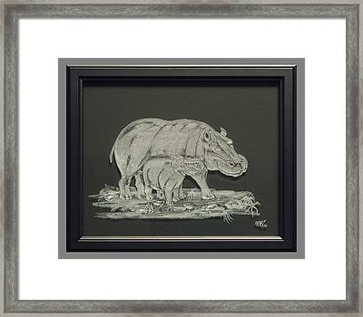 Hippos Mother And Baby Framed Print by Akoko Okeyo