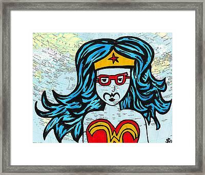Hipster Wonder Woman Framed Print by Jera Sky