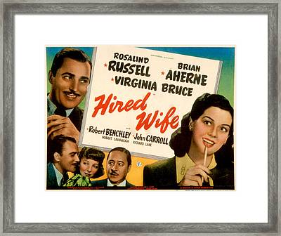 Hired Wife, Brian Aherne, Virginia Framed Print by Everett