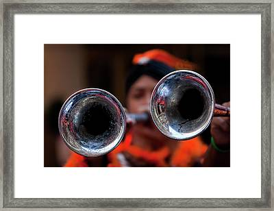 Hispanic Columbus Day Parade Nyc 11 9 11 Horn Players Framed Print by Robert Ullmann
