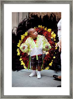 Hispanic Columbus Day Parade Nyc 11 9 11 Young Boy Preparing Framed Print by Robert Ullmann