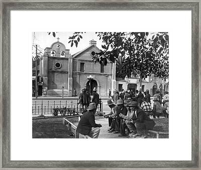 Hispanics On The Plaza Framed Print by Underwood Archives