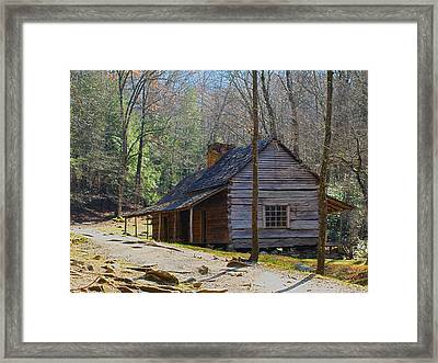 Historic Cabin On Roaring Fork Motor Trail In Gatlinburg Tennessee  Framed Print by Peter Ciro