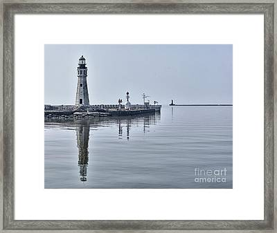Historic Lighthouse On Lake Erie Framed Print by Phil Pantano