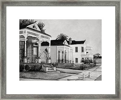 Historic Louisiana Homes In Black And White Framed Print by Elaine Hodges