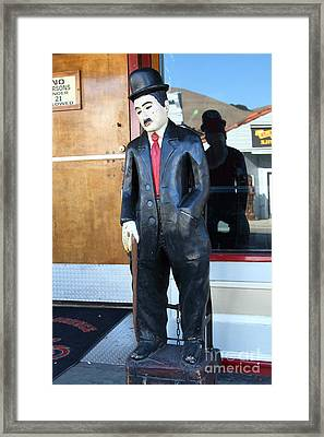 Historic Niles District In California Near Fremont . Charlie Chaplin Statue At The Florence Bar Framed Print by Wingsdomain Art and Photography