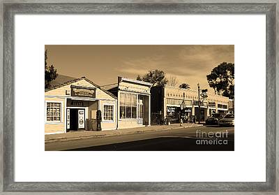 Historic Niles District In California Near Fremont . Main Street . Niles Boulevard . 7d10676 . Sepia Framed Print by Wingsdomain Art and Photography