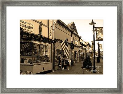 Historic Niles District In California Near Fremont . Main Street . Niles Boulevard . 7d10701 . Sepia Framed Print by Wingsdomain Art and Photography