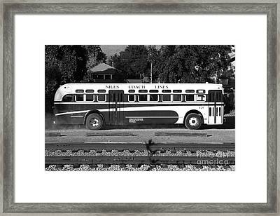 Historic Niles District In California Near Fremont . Niles Coach Line Bus . 7d10803 . Bw Framed Print by Wingsdomain Art and Photography