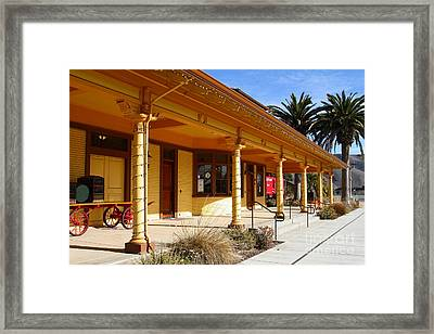 Historic Niles District In California Near Fremont . Niles Depot Museum And Niles Town Plaza.7d10636 Framed Print by Wingsdomain Art and Photography