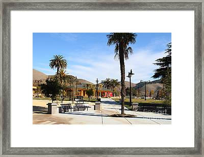 Historic Niles District In California Near Fremont . Niles Depot Museum And Niles Town Plaza.7d10651 Framed Print by Wingsdomain Art and Photography