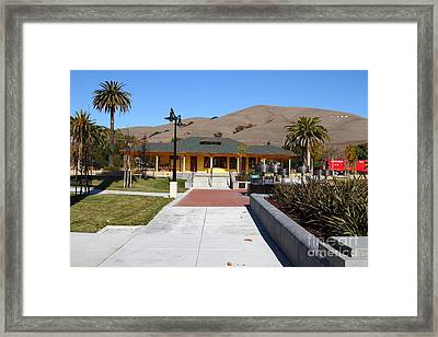 Historic Niles District In California Near Fremont . Niles Depot Museum And Niles Town Plaza.7d10697 Framed Print