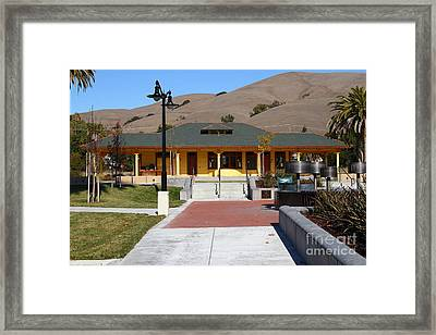 Historic Niles District In California Near Fremont . Niles Depot Museum And Niles Town Plaza.7d10698 Framed Print