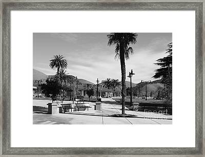 Historic Niles District In California Near Fremont . Niles Depot Museum And Town Plaza.7d10651.bw Framed Print by Wingsdomain Art and Photography