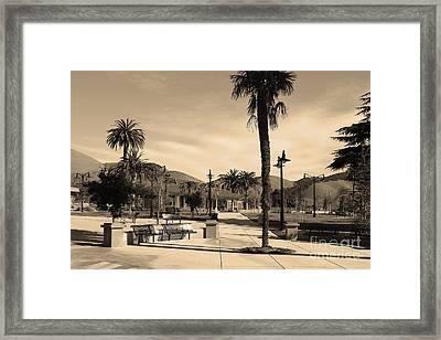 Historic Niles District In California Near Fremont . Niles Depot Museum And Town Plaza.7d10651.sepia Framed Print by Wingsdomain Art and Photography
