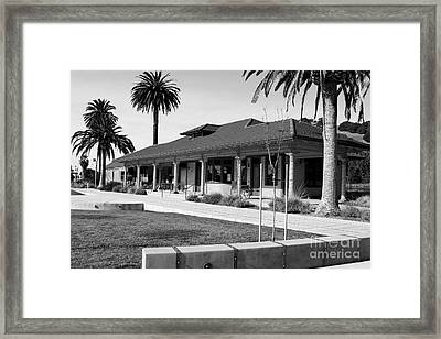 Historic Niles District In California Near Fremont . Niles Depot Museum And Town Plaza.7d10717.bw Framed Print by Wingsdomain Art and Photography