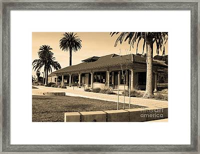 Historic Niles District In California Near Fremont . Niles Depot Museum And Town Plaza.7d10717.sepia Framed Print by Wingsdomain Art and Photography