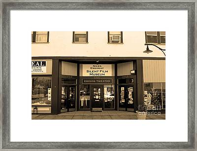Historic Niles District In California Near Fremont . Niles Essanay Silent Film Museum.7d10683.sepia Framed Print by Wingsdomain Art and Photography