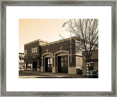 Historic Niles District In California Near Fremont . Niles Fire Station Number 2 . 7d10732 . Sepia Framed Print by Wingsdomain Art and Photography