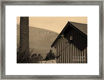 Historic Niles District In California Near Fremont . Niles Letters From Niles Town Plaza . Sepia Framed Print by Wingsdomain Art and Photography
