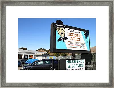 Historic Niles District In California Near Fremont . Welcome To Niles Sign . 7d10603 Framed Print