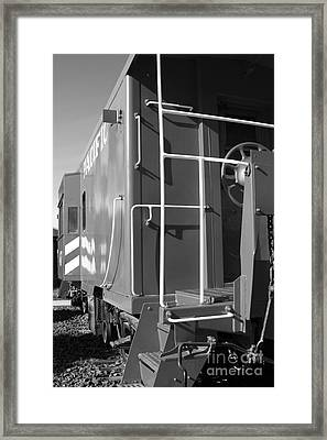 Historic Niles District In California Near Fremont . Western Pacific Caboose Train . 7d10622 . Bw Framed Print by Wingsdomain Art and Photography