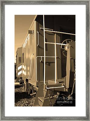 Historic Niles District In California Near Fremont . Western Pacific Caboose Train . 7d10622 . Sepia Framed Print by Wingsdomain Art and Photography