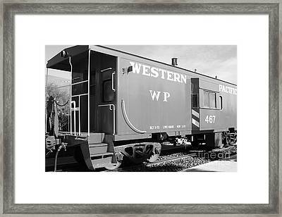 Historic Niles District In California Near Fremont . Western Pacific Caboose Train . 7d10627 . Bw Framed Print by Wingsdomain Art and Photography