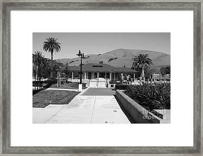 Historic Niles District In California Near Fremont.niles Depot Museum And Town Plaza.7d10697.bw Framed Print by Wingsdomain Art and Photography