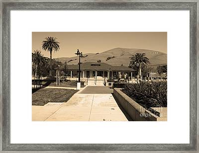 Historic Niles District In California Near Fremont.niles Depot Museum And Town Plaza.7d10697.sepia Framed Print by Wingsdomain Art and Photography