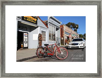 Historic Niles District In California.motorized Bike Outside Devils Workshop And Mercantile.7d12729 Framed Print by Wingsdomain Art and Photography