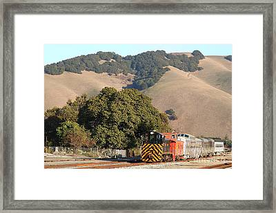 Historic Niles Trains In California . Old Southern Pacific Locomotive And Sante Fe Caboose . 7d10817 Framed Print by Wingsdomain Art and Photography