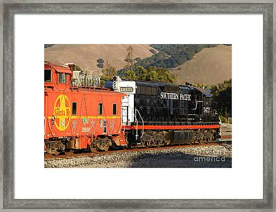 Historic Niles Trains In California . Old Southern Pacific Locomotive And Sante Fe Caboose . 7d10850 Framed Print by Wingsdomain Art and Photography