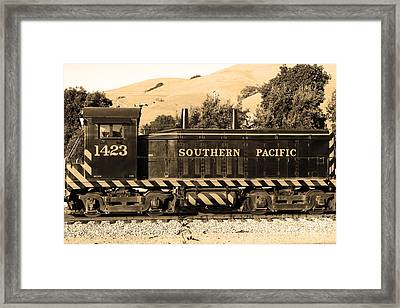 Historic Niles Trains In California . Southern Pacific Locomotive . 7d10829 . Sepia Framed Print